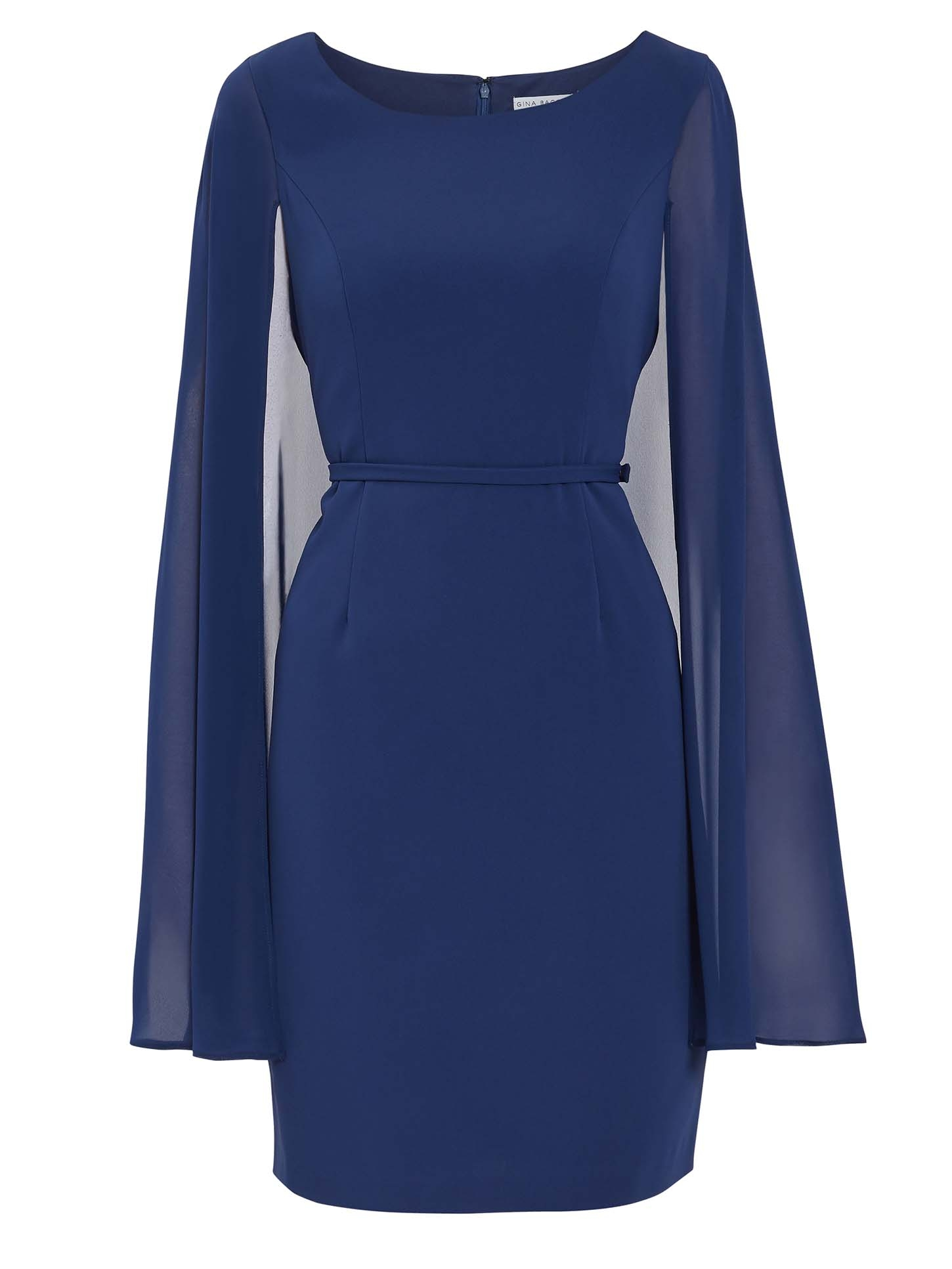 Bevin Crepe And Chiffon Cape Dress