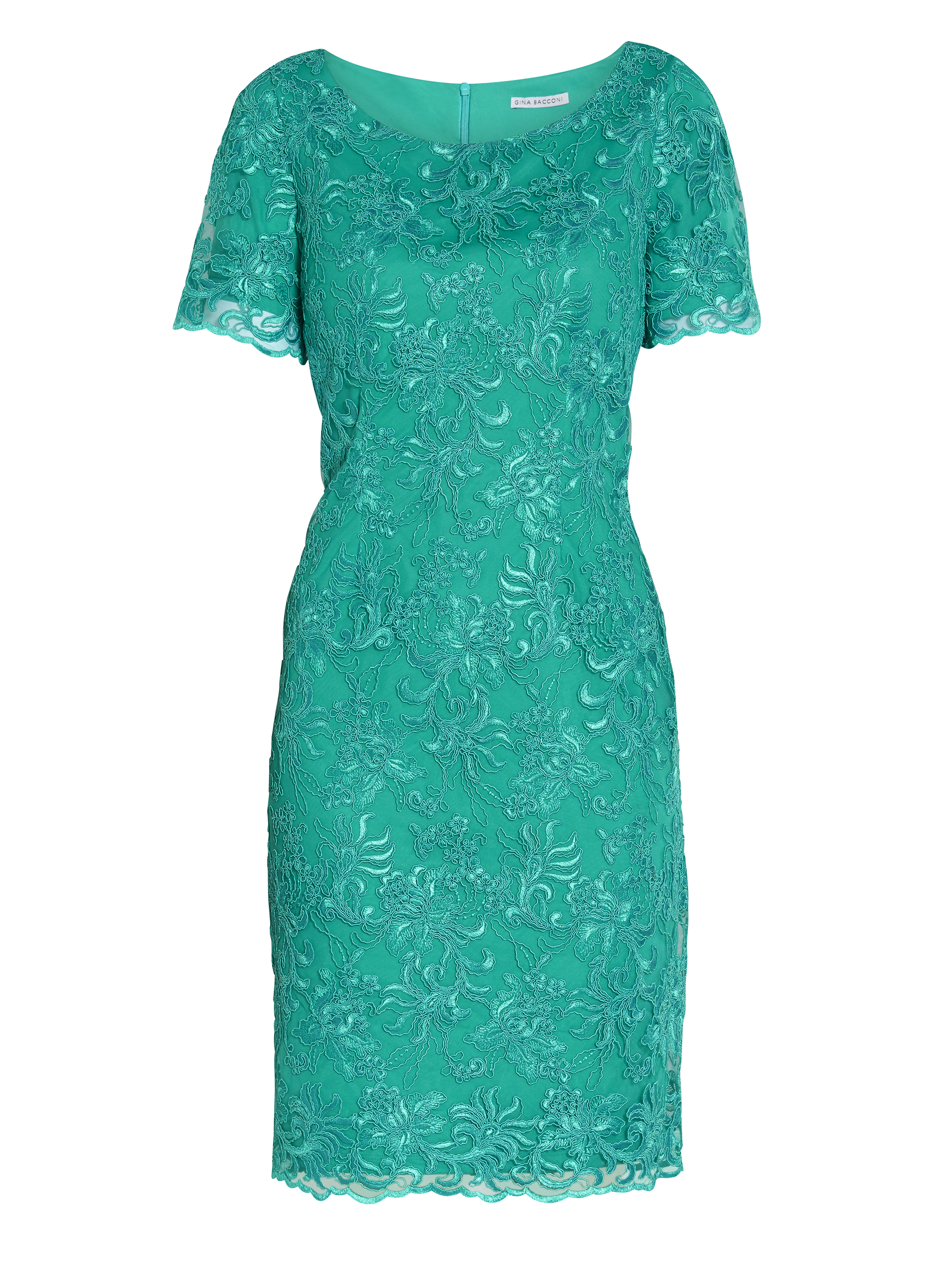 Embroidered Corded Mesh Dress