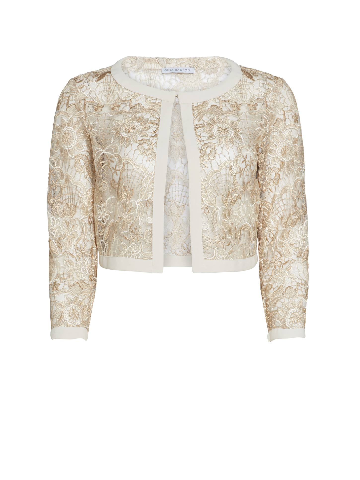 Crepe and Floral Embroidered Mesh Jacket