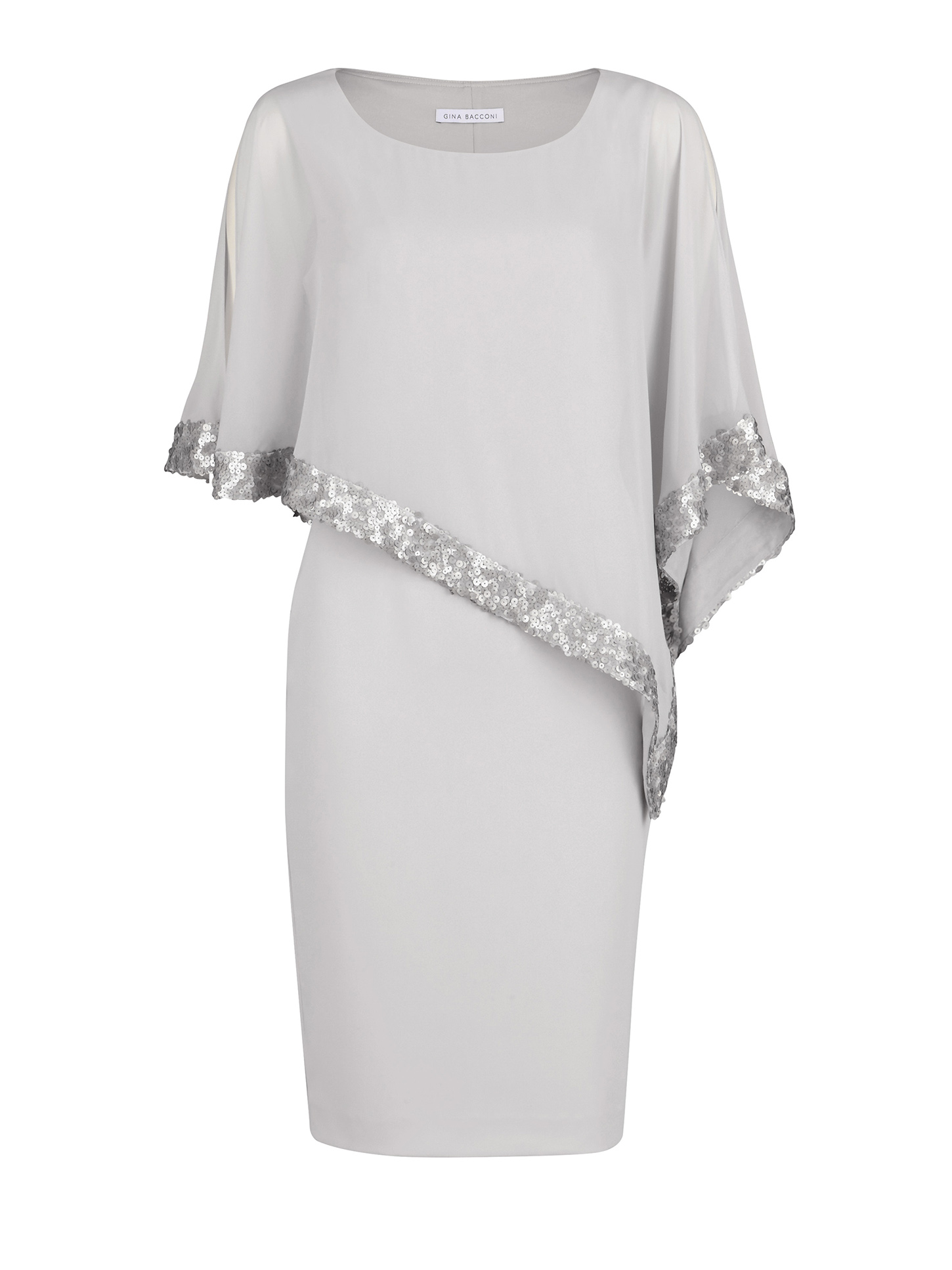 Crepe and Chiffon Dress with Sequin Trim