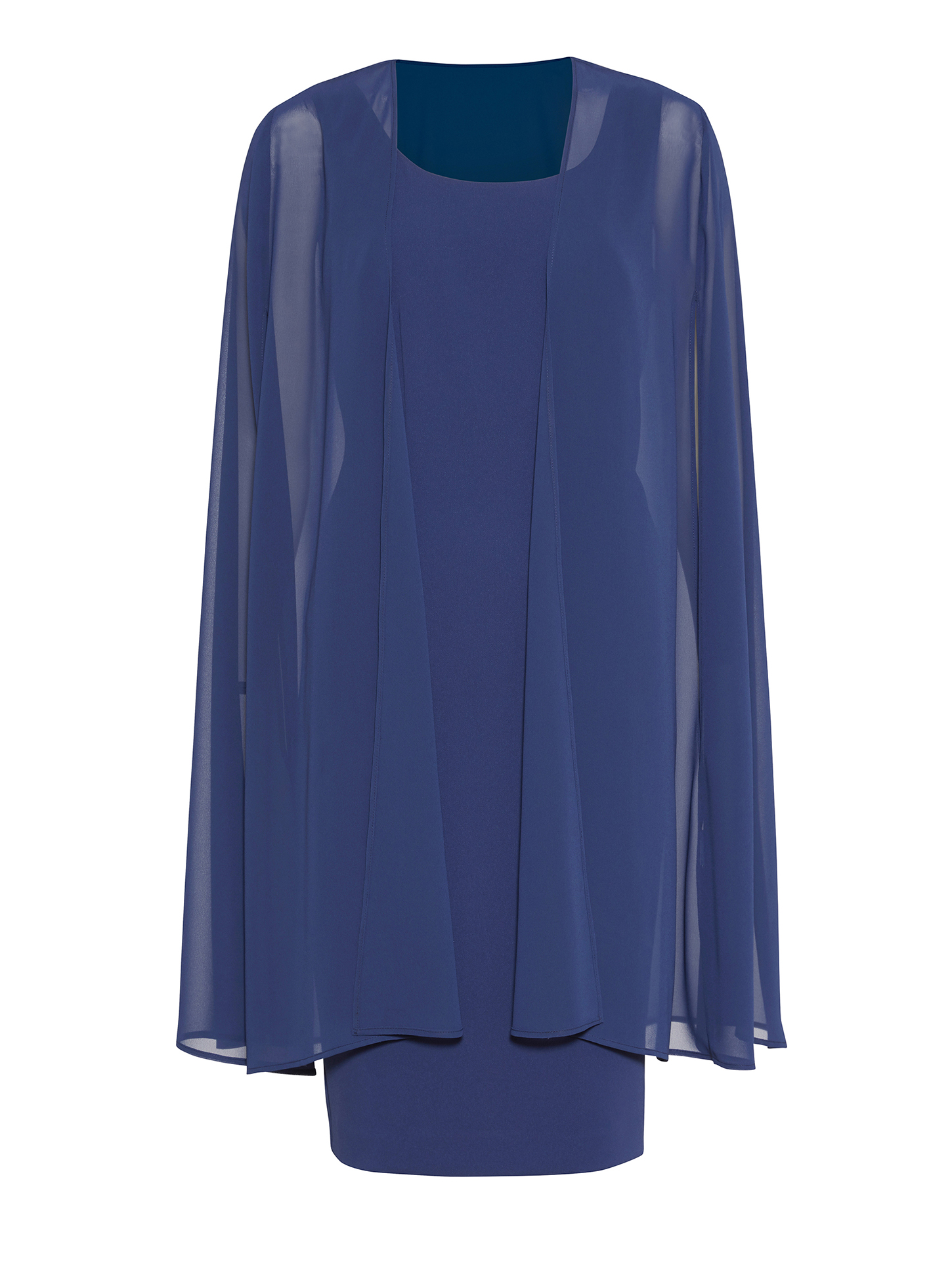 Moss Crepe Dress and Chiffon Cape