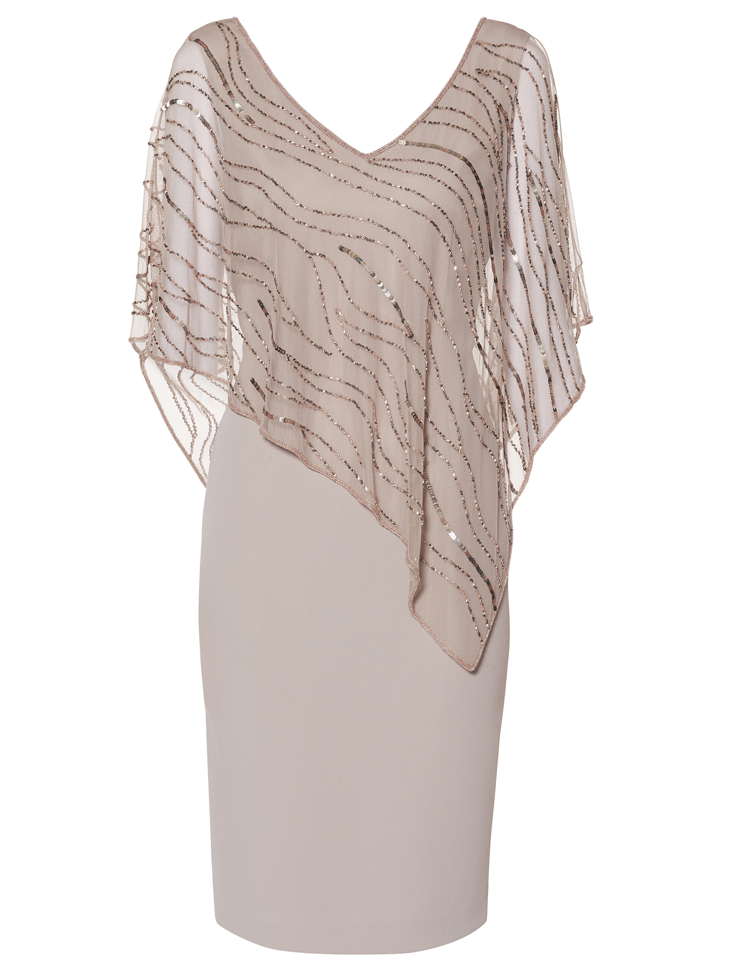 Joanna Assymetric Beaded Cape Dress