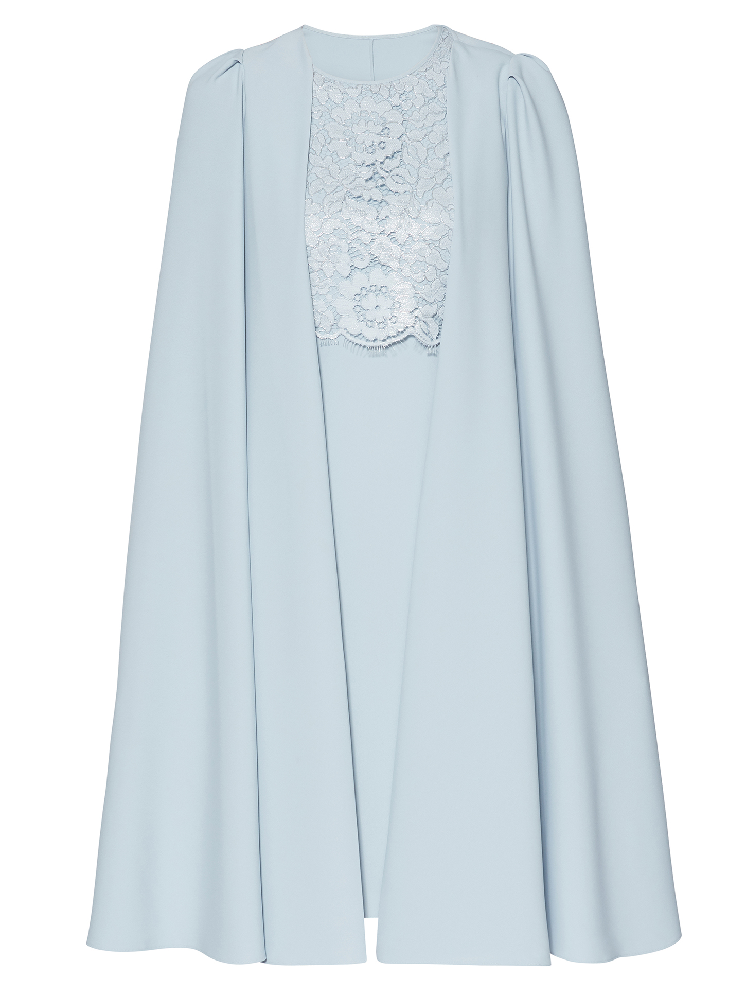 Jolene Crepe And Lace Dress With Cape