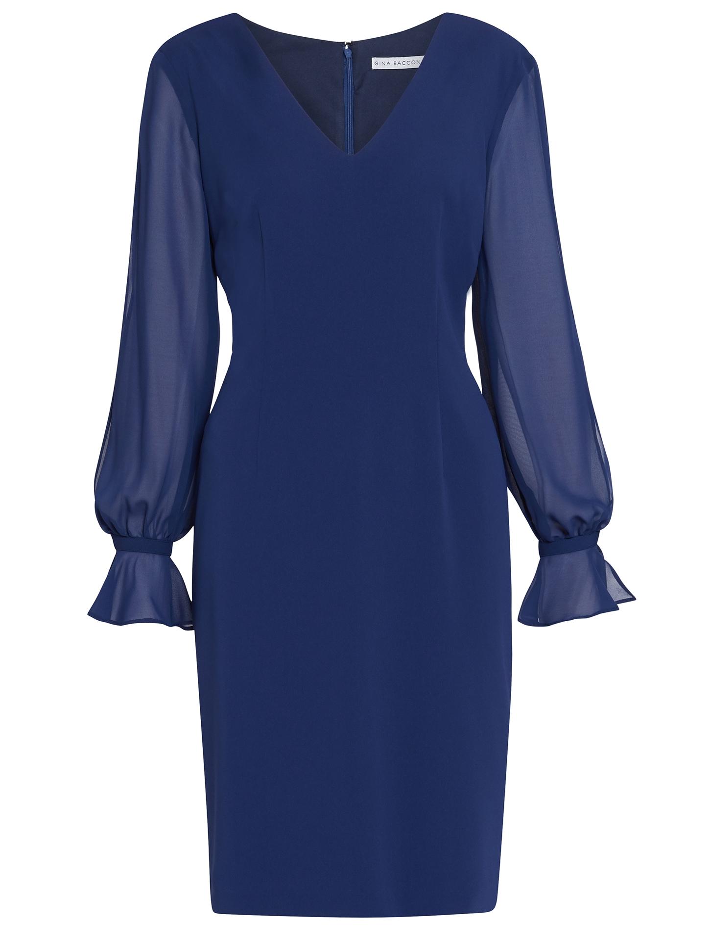Luvia Crepe Dress With Chiffon Sleeves