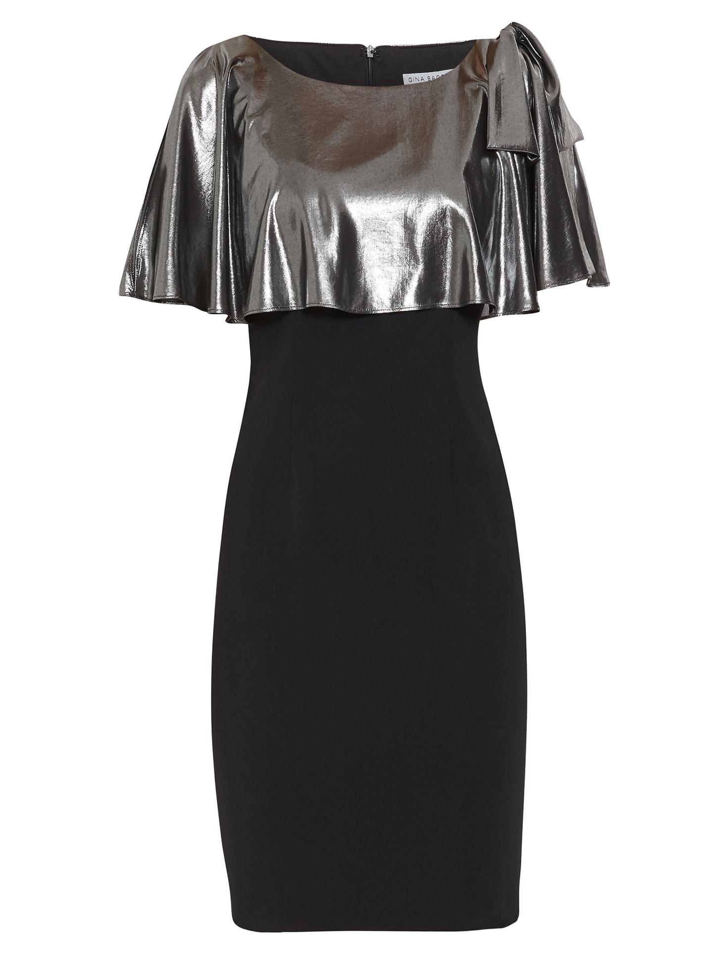Amari Crepe And Metallic Chiffon Dress