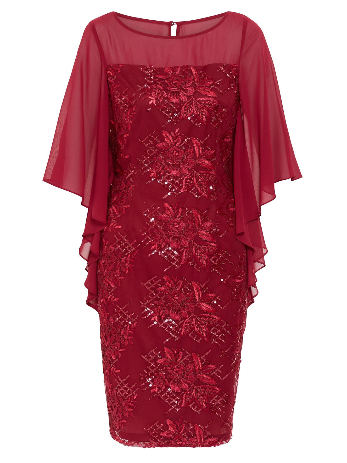 Bonita Embroidered Cape Sleeve Dress