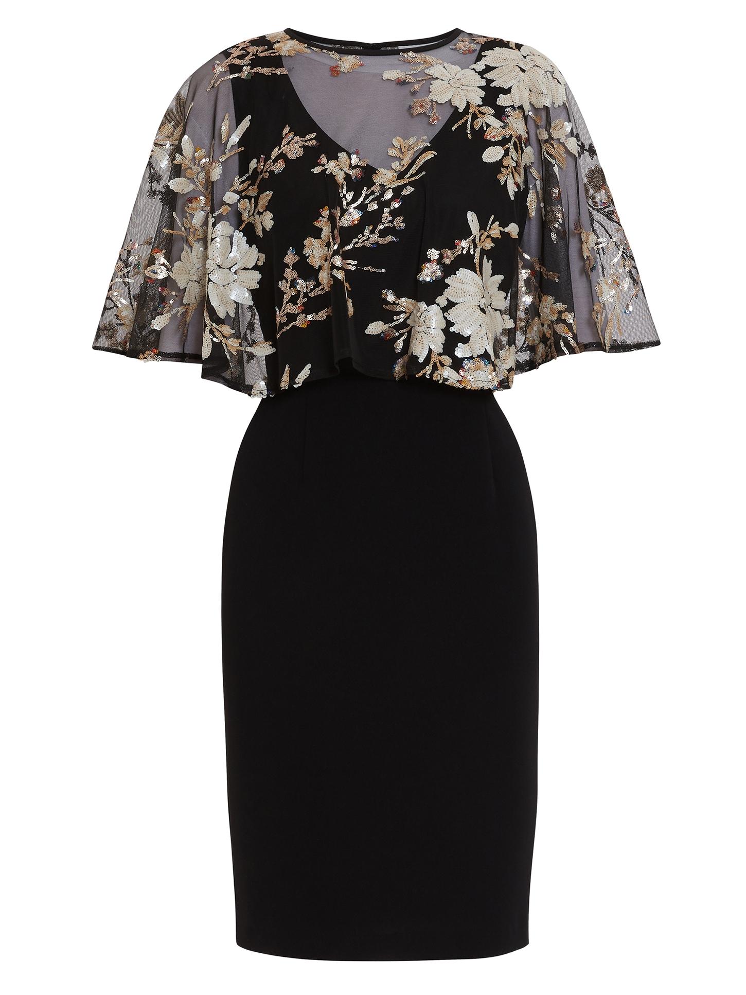 Coranne Sequin Cape Dress
