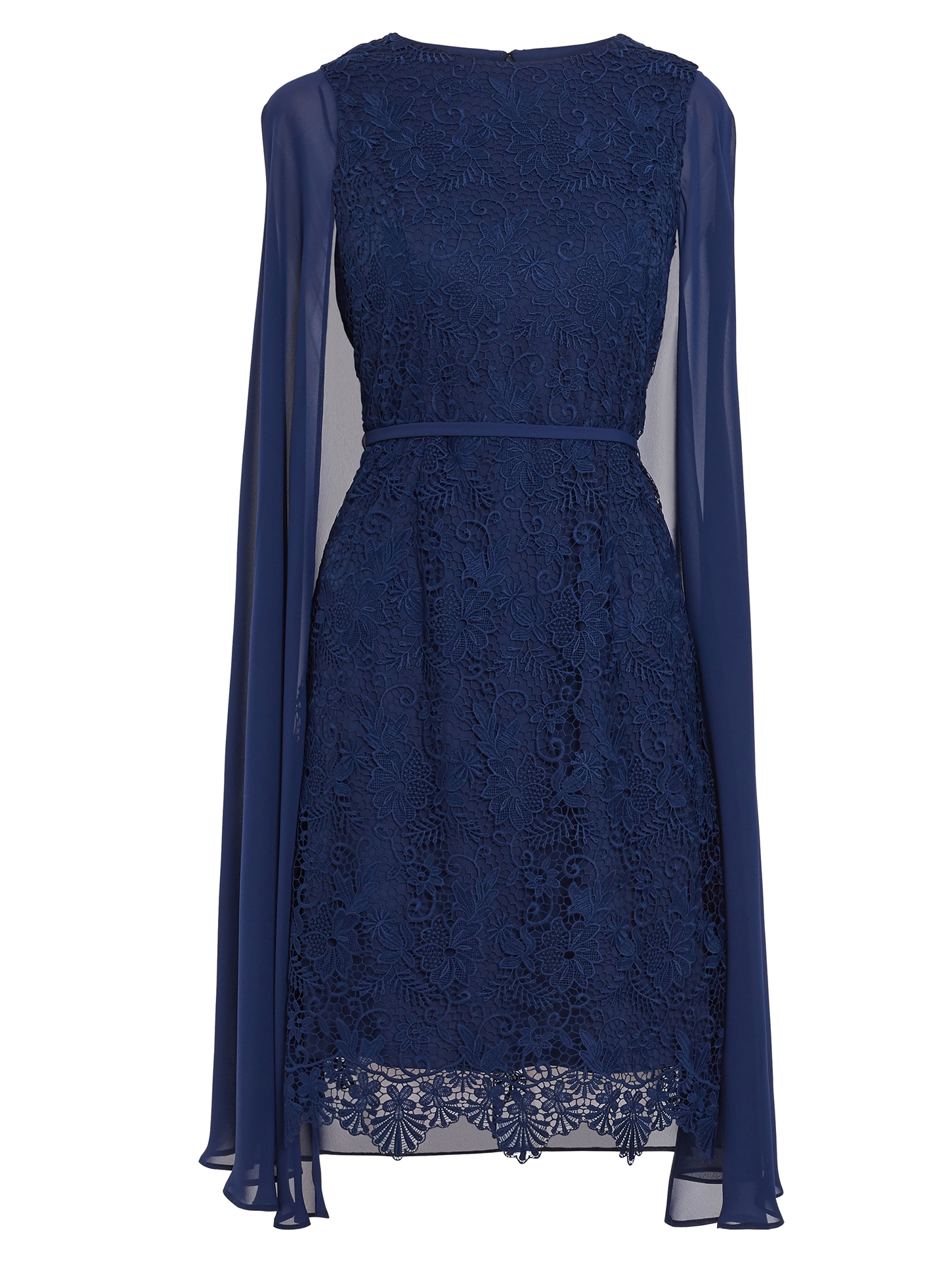 Sansa Lace Dress With Chiffon Cape