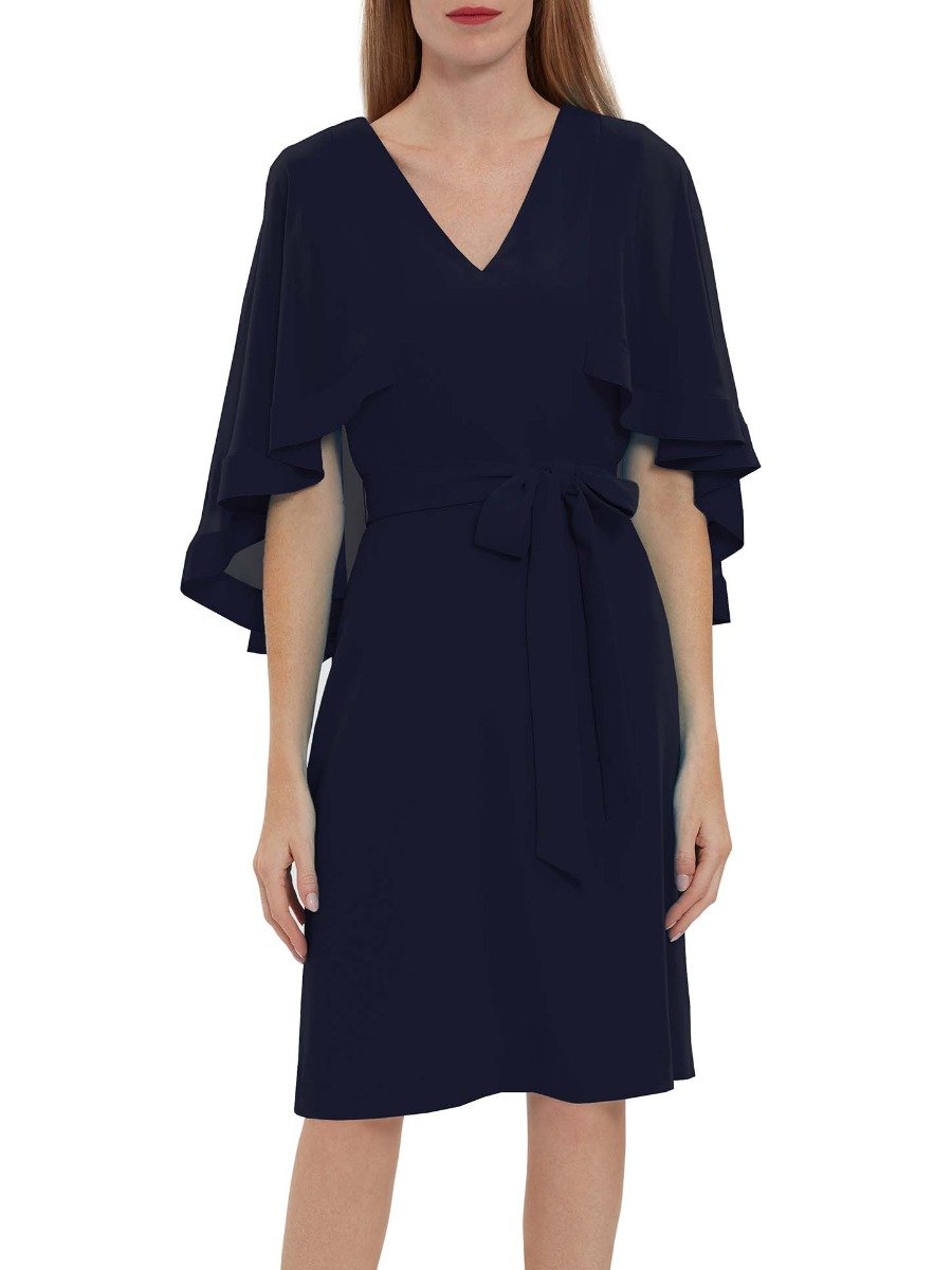 Chestina Moss Crepe Dress With Cape