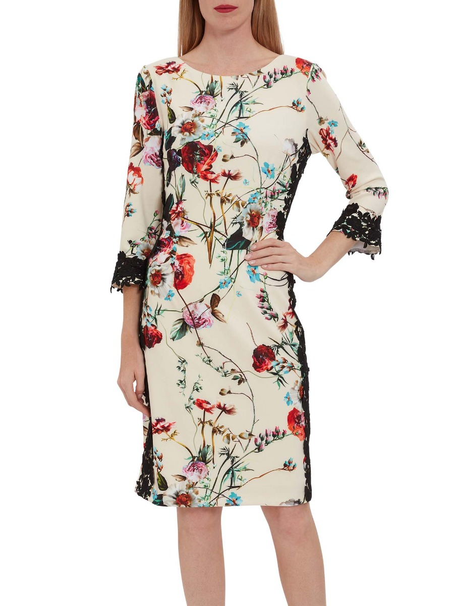 Liddie Floral Jersey And Lace Dress