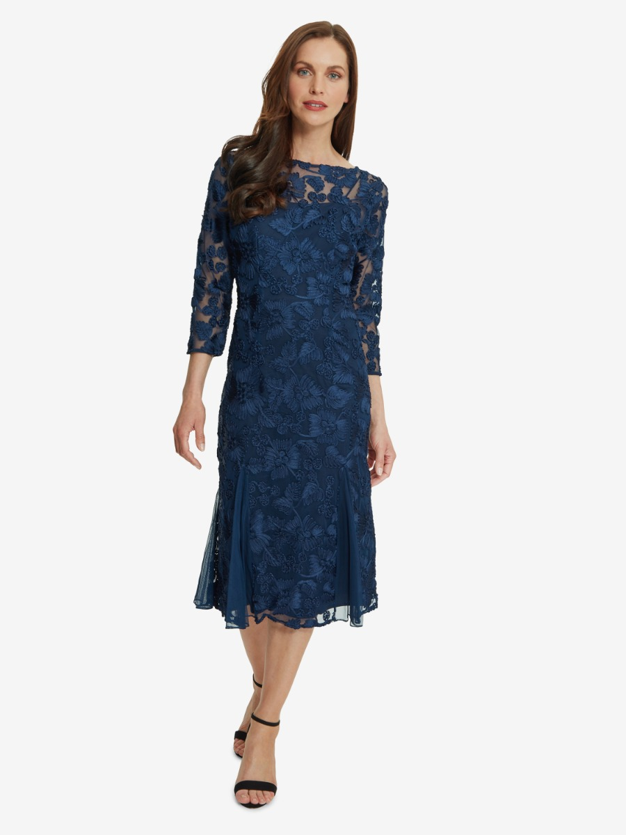 Yasmine Dress With Illusion Neckline And Sleeves