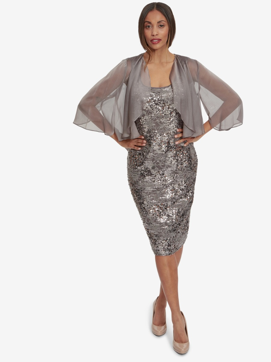 Winslet Sequin Lace Dress With Chiffon Jacket