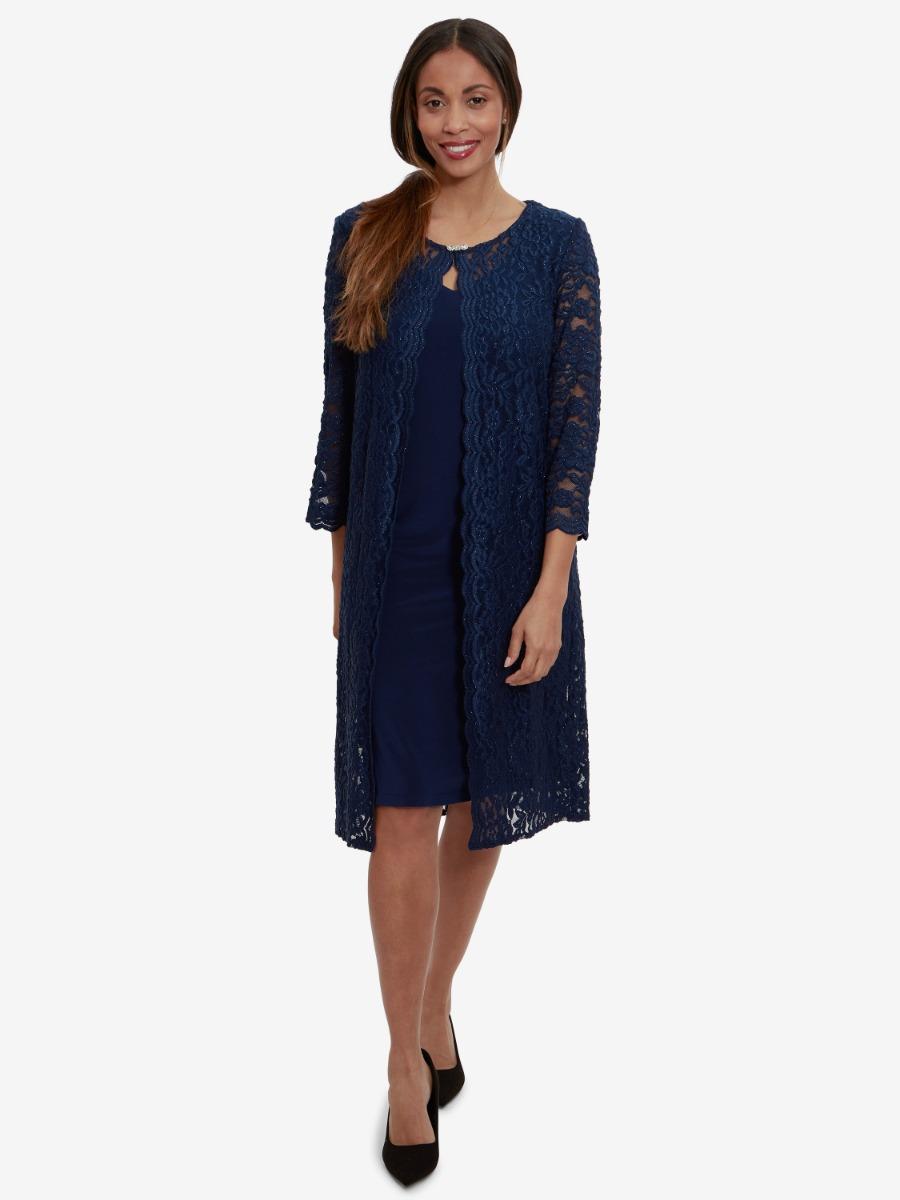 Velina Lace And Jersey Mock Jacket Dress