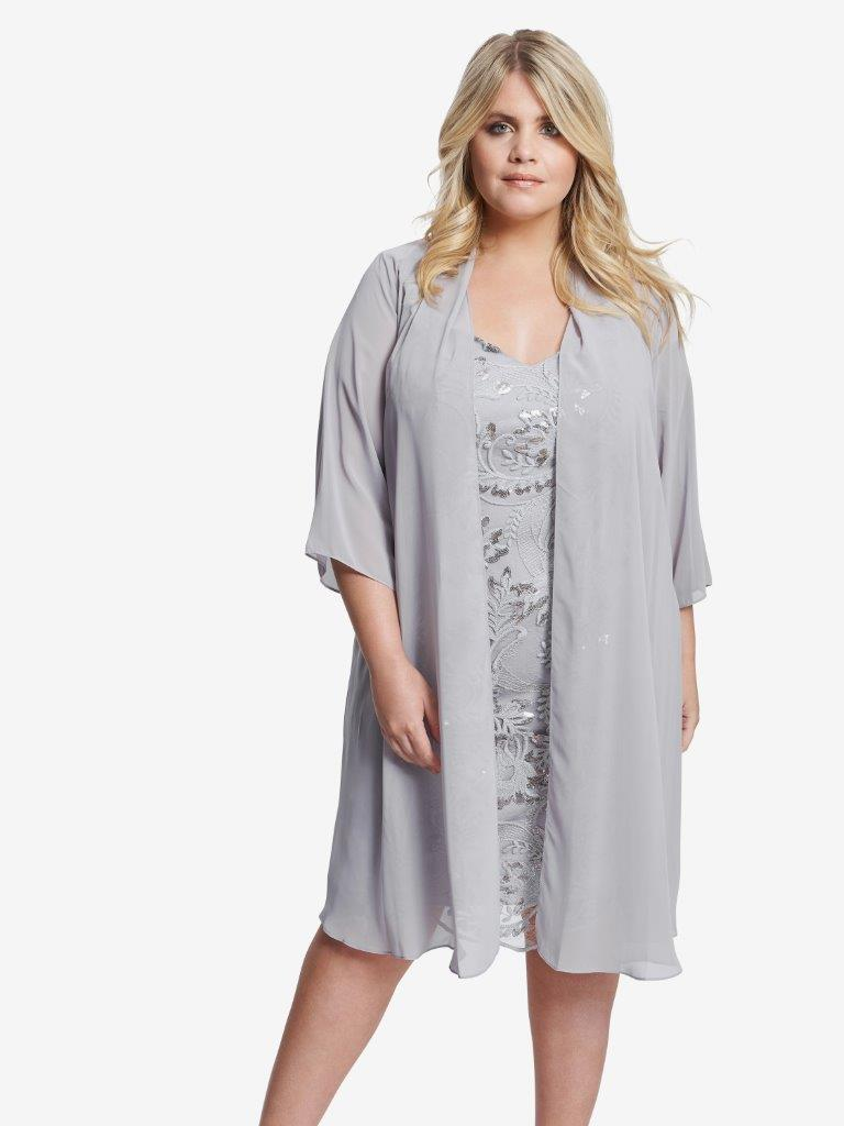 Racquel Embroidered Dress With Chiffon Jacket